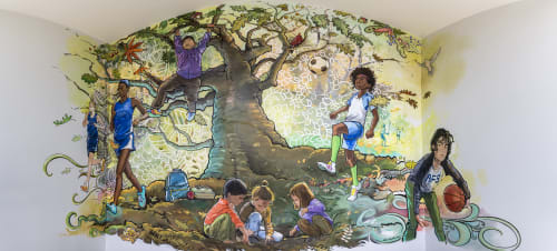 Murals by Birdstudio Inc. seen at Abington Friends School, Jenkintown - Abington Friends School Mural