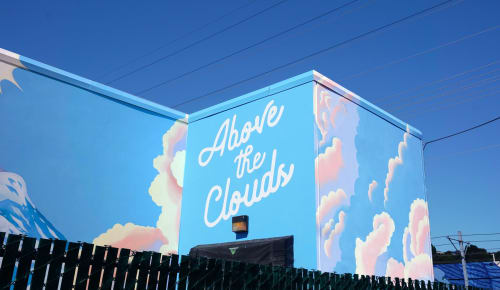 Street Murals by Celeste Byers seen at The SODO Track, Seattle - Above the Clouds