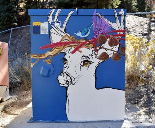 Murals by Aniko Doman seen at Mount Charleston, Mount Charleston - Public Art - Utility box decorative painting