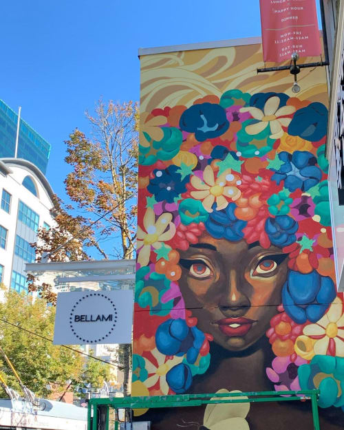 Street Murals by Ejiwa Ebenebe seen at 1168 Robson St, Vancouver - Flower Crown