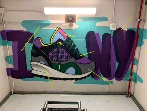 Murals by Zaeos seen at Nordstrom Mens Store NYC, New York - Stairwell Painting