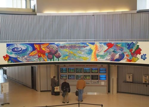 Public Mosaics by Ginny Sykes seen at O'Hare International Airport, Chicago - On The Wings of Water