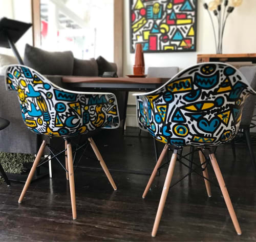 Art & Wall Decor by Elliott C Nathan seen at Zozi's Loft, San Francisco - Hand-painted Eames Style Chairs