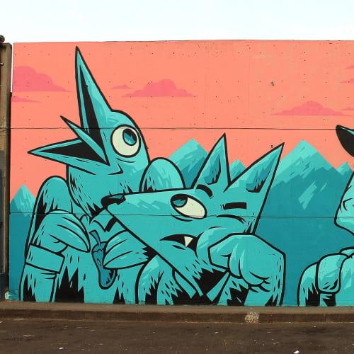 Street Murals by Mike Maese seen at Central de Abasto, Ciudad de México - mural (in blue)