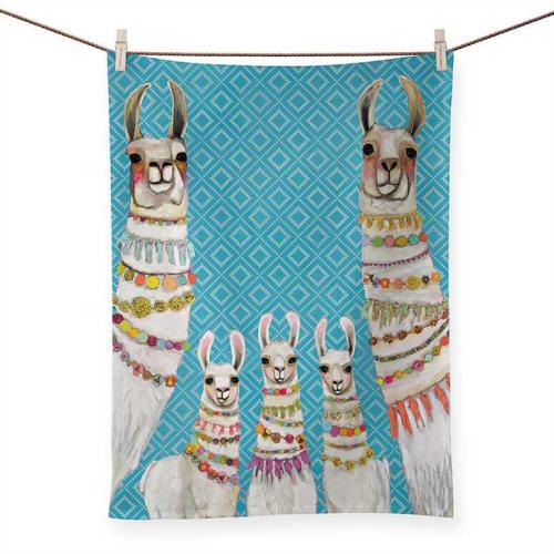 Tableware by GreenBox Art + Culture seen at Terra LaRock's Home - Llama and Cow Tea Towels