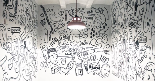 Murals by Pabs seen at La Federica, Barcelona - Oh!ink