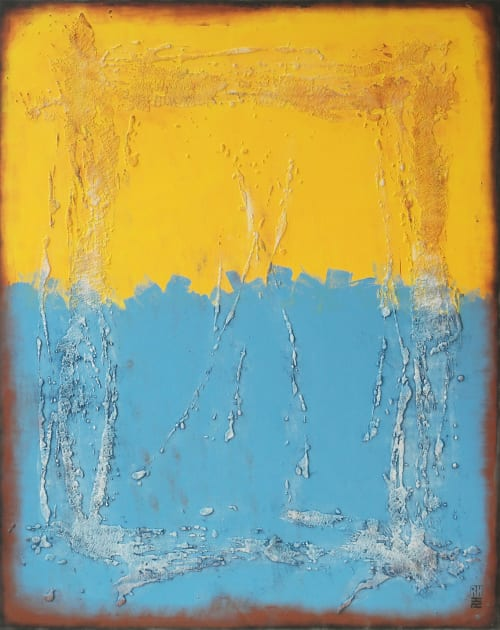 Paintings by Ronald Hunter seen at Roxier Art Gallery, Rotterdam - Once in Yellow & Blue XL
