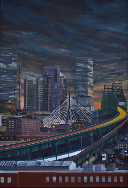 Paintings by Felipe Ortiz Art seen at 50 Milk Street, Boston - Entering Boston