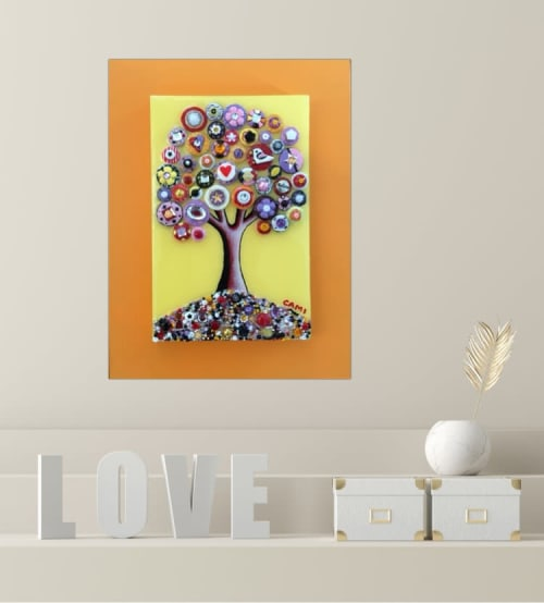 """Art & Wall Decor by Cami Levin seen at Private Residence - """"Sunny and Warm"""" - 9x12x2"""" - Tree of Love Series"""