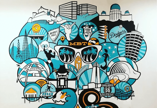 Murals by VIVACHE DESIGNS seen at WeWork Manhattan Beach Towers, Manhattan Beach - Iconic City Landmark Mural
