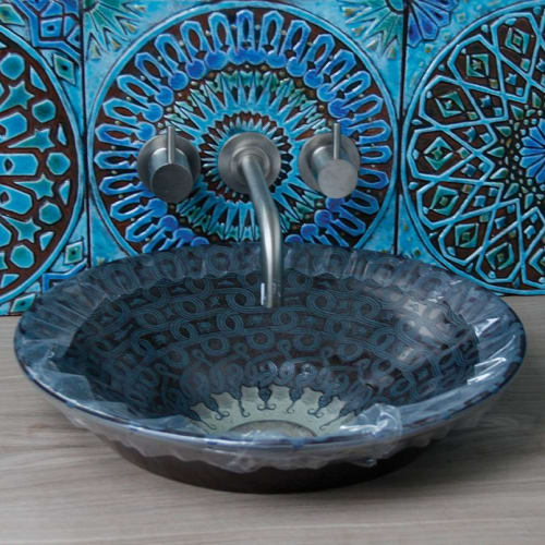 Tiles by GVEGA seen at Private Residence, London - Turquoise Moroccan bathroom tiles handmade by gvega