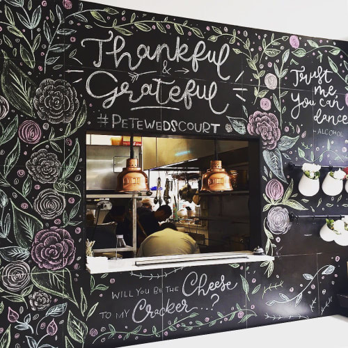 Murals by Jess Riley seen at The Parlor Milk Bar & Kitchen, Cheltenham - Chalk Mural - Wedding Backdrop