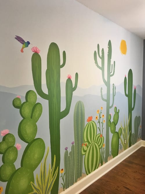 Murals by Jillian Selene Art seen at Private Residence, Tulsa - In-Home Cacti Mural