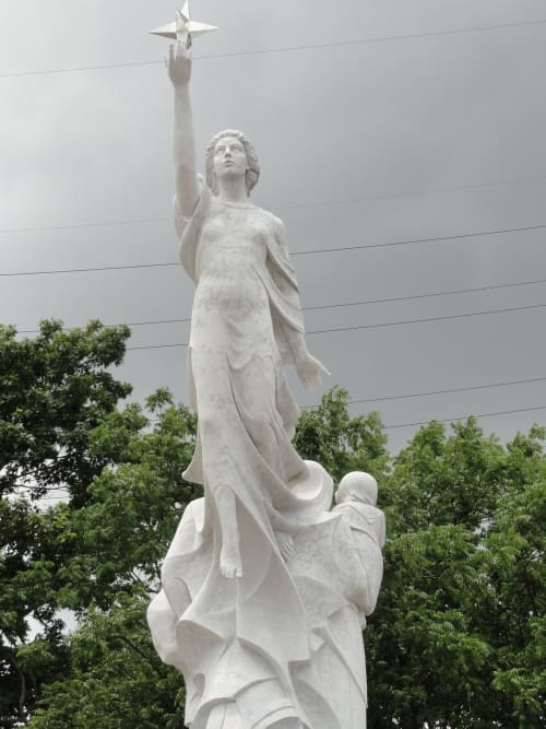 Public Sculptures by Franco Alessandrini seen at Woldenberg Park, New Orleans - Monument to the Immigrant