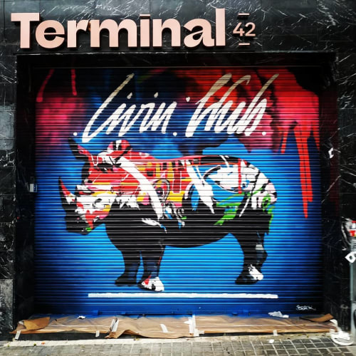 Murals by Berok seen at Terminal 42 Barcelona, Barcelona - Rhino