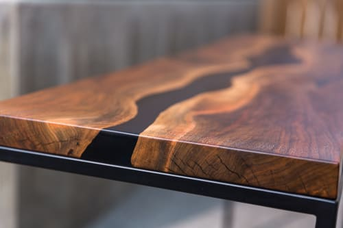 Tables by SAW Live Edge seen at Creator's Studio, Kimberley - Bastogne Walnut Live Edge Resin Console Table | Resin Desk |