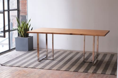 Teak Kali Live Edge + Tee Dining Table   Tables by From the Source