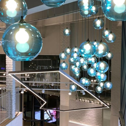 Pendants by Prolight Design Ltd seen at London, London - Blue Globe Pendants