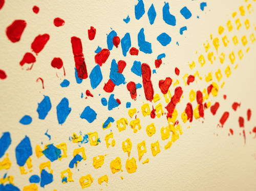 """Murals by ANTLRE - Hannah Sitzer seen at Google RWC SEA6, Redwood City - """"Treads"""""""