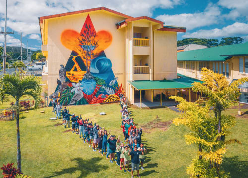 "Murals by Kai'ili Kaulukukui seen at Pahoa High & Intermediate School, Pāhoa - ""Puna Strong"""