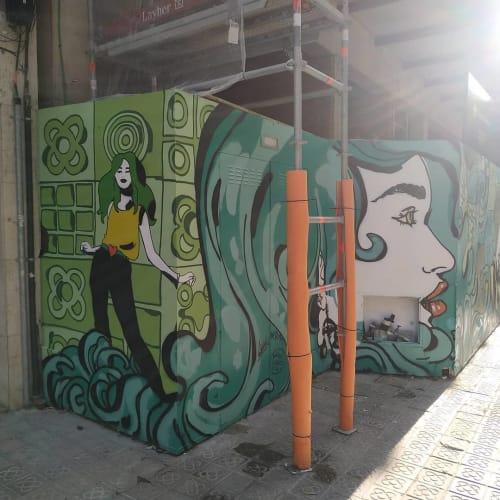 Street Murals by Berok seen at Barcelona, Barcelona - Wall Mural