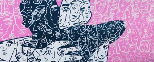 Street Murals by Davia King seen at Subway, Santa Monica - Wall Mural