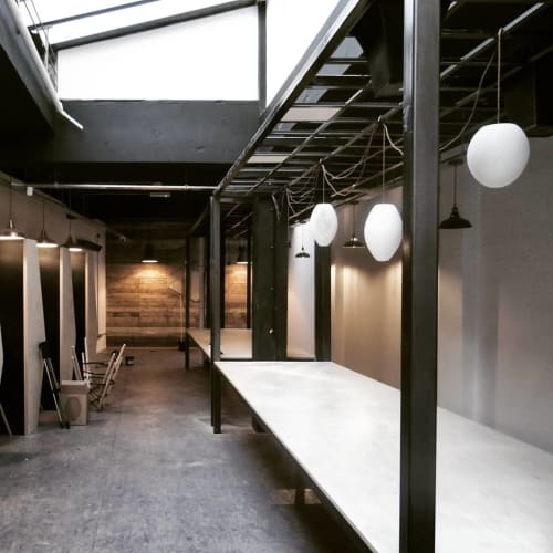 Pendants by Ayus Design seen at Cadoo Works, London - Hive H30 Cool White