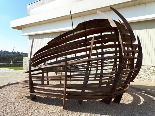Public Sculptures by Mark L Swart seen at Kyalami Corner Shopping Centre, Midrand - Horse Shoe