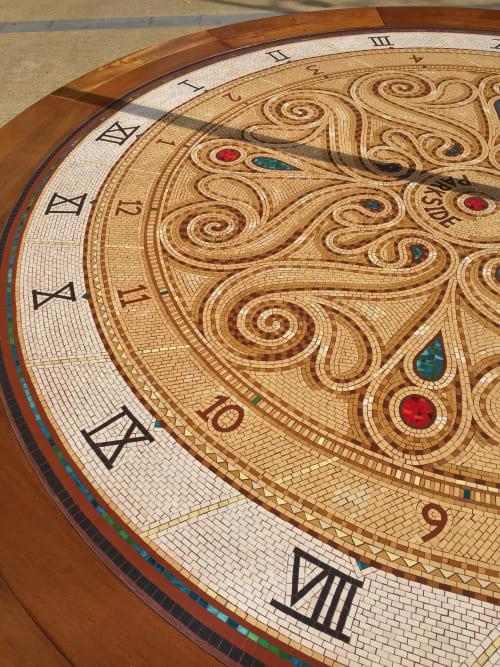 Public Mosaics by Gary Drostle – Drostle Public Arts Ltd seen at Deptford Bridge, London - Battle of Deptford Memorial Sundial