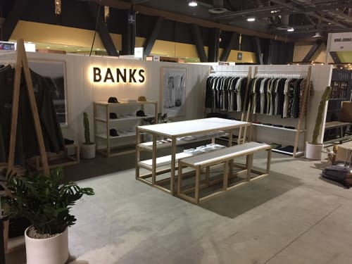 Furniture by Coyote Custom Woodwork seen at Long Beach Convention & Entertainment Center, Long Beach, CA, Long Beach - Banks Journal Custom Booth Buildout #2