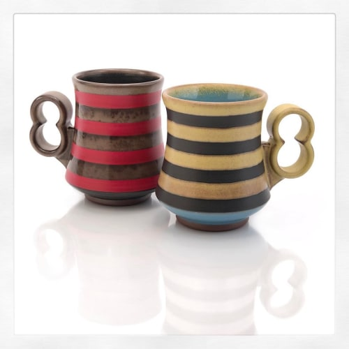 Cups by VEpottery seen at VEpottery, Helena - Striped 12 ouncers