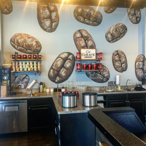 Murals by Nora Kate Paints seen at Curate Kitchen, Dixon - Coffee Beans Wall Mural