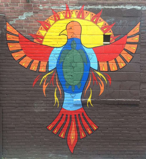 Street Murals by Andréa Grasso seen at 1422-30 N 8th St, Philadelphia - Thunderbird Salvage