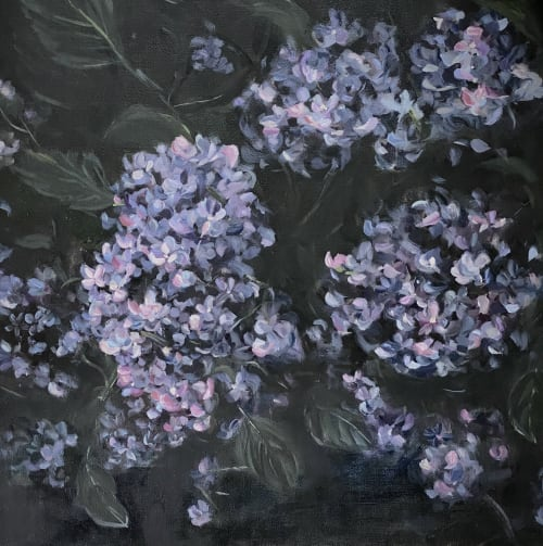 Paintings by Arohika Verma seen at Private Residence - Blue Hydrangea Painting on Canvas
