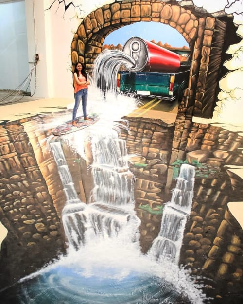 Street Murals by Chhapac seen at Innovative film city corporate office, Bengaluru - 3D Interactive Mural