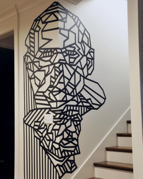 Murals by Dustin Hedrick seen at Private Residence, Nashville - Face Tape Art Mural
