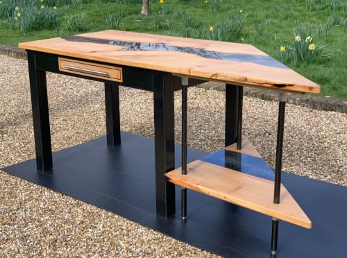 Tables by Raven River Designs seen at Private Residence, Horsham - Resin River and Carbon Fibre Desk