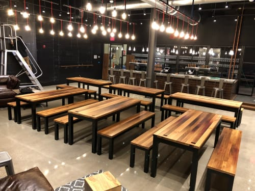 Tables by Saltwoods seen at Samuel Adams, Boston - Reclaimed White Oak Tables and Benches