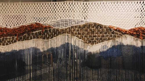 Macrame Wall Hanging by Fiber Motel by Janet Jane seen at Beach Boy Canggu - Floating Macrame Partition - 6500 x 1500 mm