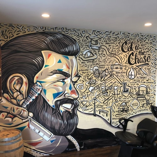 Murals by E. Trent Thompson seen at Cut To The Chase Barber Shop, Livermore - Cut To The Chase