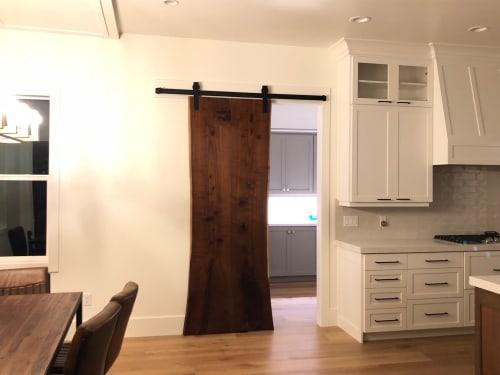Furniture by Stockton Heritage seen at Private Residence, Lindon - Sliding Barn Doors - Live Edge Wood Slabs - Walnut Ash Oak Guanacaste Monkeypod