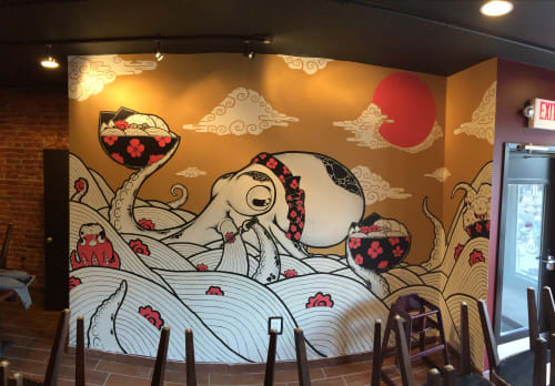 Murals by Golden Rabbit Silent Monkey seen at Sakuramen Ramen Bar, Washington - Ramen Octopus