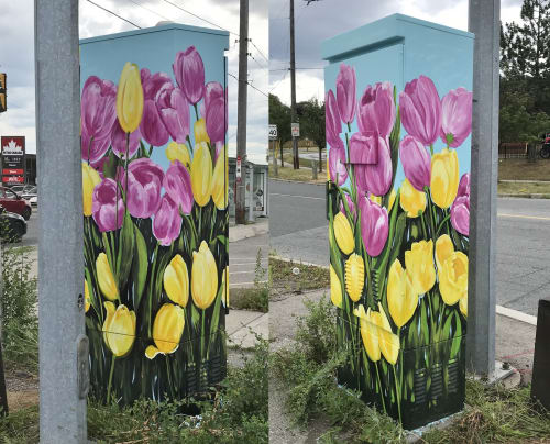 Street Murals by Murals By Marg seen at Ellesmere Road, Toronto - Toronto Together Tulips