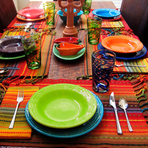 "Ceramic Plates by HF Coors ~ Dinnerware Made 100% in the USA seen at Private Residence - Rimmed Soup Bowls and Plates ~ ""Aztec"" pattern"