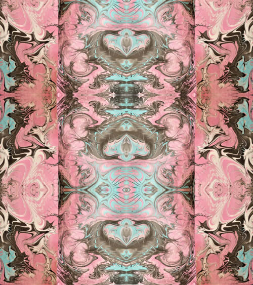 Paintings by Meanmagenta Marbling & Photography seen at Private Residence, London - Pink arabesque