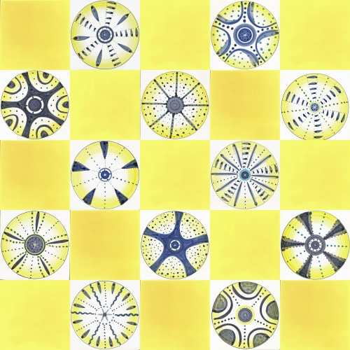 Tiles by Reptile Tiles seen at Private Residence, Ledbury - Yellow Diatom tiles