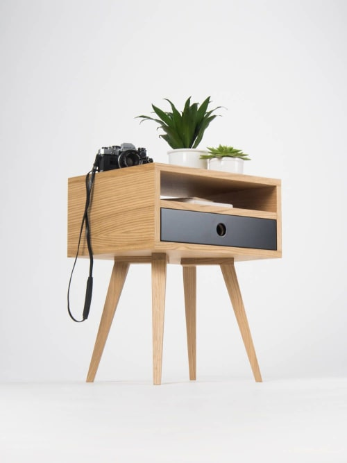 Furniture by Mo Woodwork seen at Stalowa Wola, Stalowa Wola - Mid century nightstand, bedside table with one black drawer