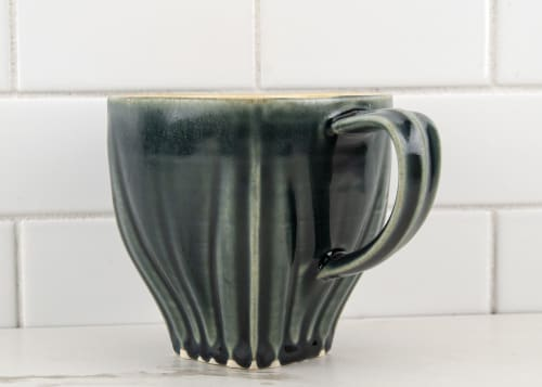 Cups by M.L. Pots seen at Creator's Studio, Borden - Draped Coffee Cup with Nightfall Grey Glaze - 007