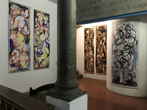 Paintings by Ginny Sykes seen at Florence Dance Center, Firenze - Anima and Animus Exhibition 2018