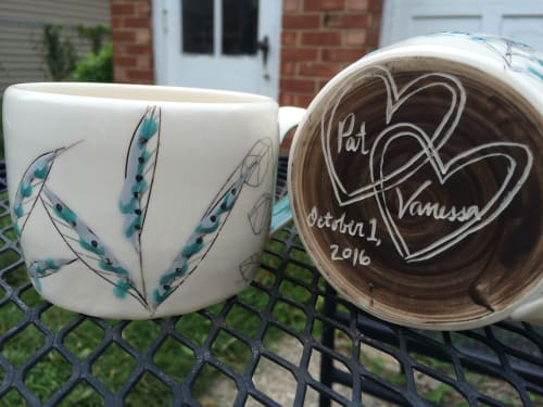 Cups by Amy Halko Ceramics at Private Residence, Shaker Heights - Wedding gift mugs.